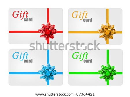 Gift cards with a  ribbon and bow