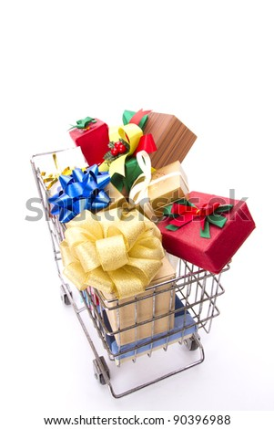 gift cart, a cart contains colorful Christmas or New year gift boxes.