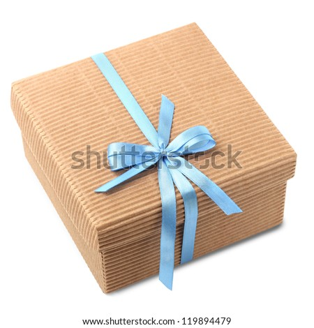 Gift carton wrapped blue ribbon with bow, isolated on white, Christmas box