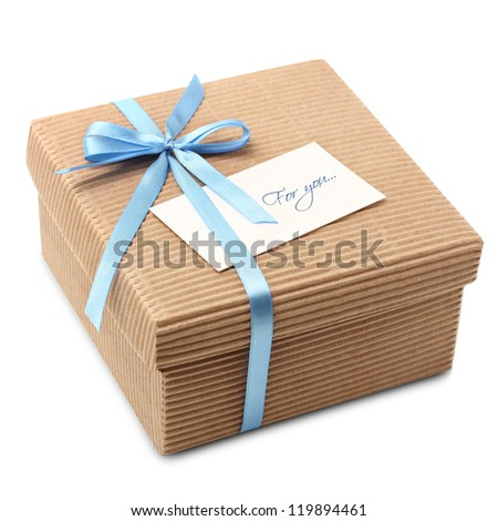 Gift carton wrapped blue ribbon with bow, isolated on white, Christmas box with cutaway