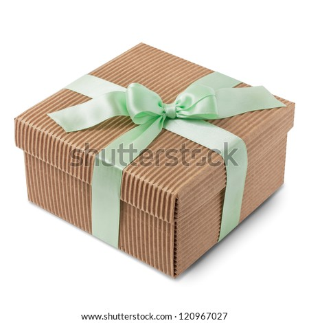 Gift carton wrapped green ribbon with bow, isolated on white