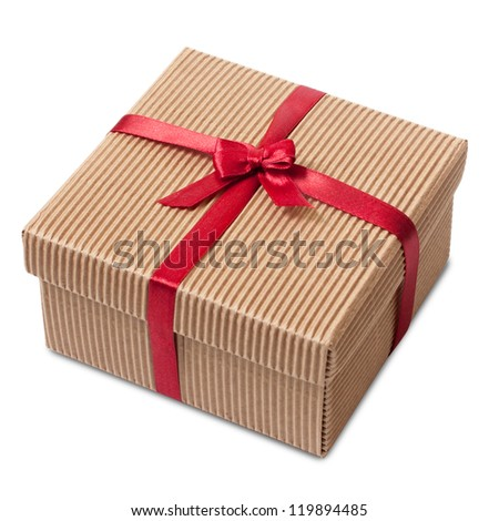 Gift carton wrapped red ribbon with bow, isolated on white, Christmas box