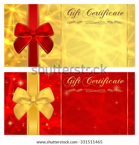 Gift certificate, Voucher, Coupon, Invitation or Gift card template with sparkling, twinkling stars (texture) and bow (ribbon). Red, gold background design money bonus, banner, ticket