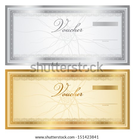 Gift Certificate Voucher Coupon Template With Guilloche Pattern – Money Note Template
