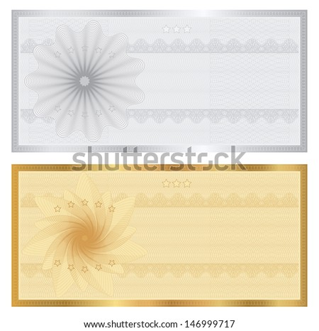 Gift Certificate, Voucher, Coupon Template With Guilloche Pattern (Watermark), Border. Background For Banknote, Money Design, Currency, Note, Check (Cheque), Ticket. Cold, Silver. Vector In Portfolio