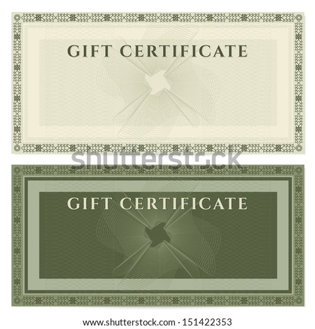 Gift certificate, Voucher, Coupon template with guilloche pattern ...