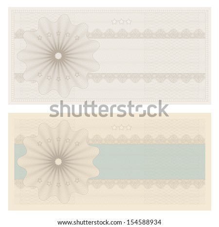 Gift certificate, Voucher, Coupon template with guilloche pattern (watermark, spirograph), border. Blank background for banknote, money design, currency, note, check (cheque), ticket, reward. Vintage