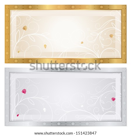 Gift certificate, Voucher, Coupon, ticket template with floral pattern, frame (flower). Background for invitation, money design, currency, check (cheque). Gold, silver colors.