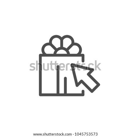 Gift choice line icon isolated on white