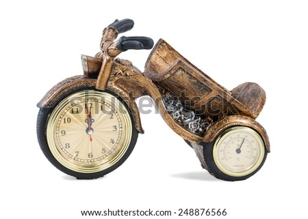 Gift clock and thermometer in a tricycle cargo bicycle isolated on white background #248876566