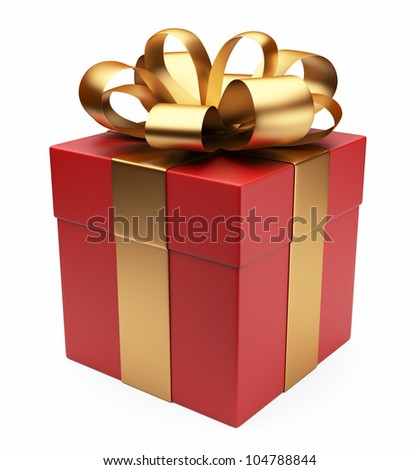 Gift 3D. Red box, bow and ribbon. Isolated on white background - stock photo