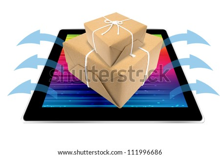 gift exiting by monitor on-line to your sweet heart - stock photo