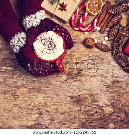 gift, fir branch, nuts, cones, Cocoa, coffee, cozy knitted blanket. Winter, New Year, Christmas still life #1152245951