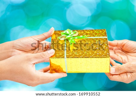 Gift giving isolated on white
