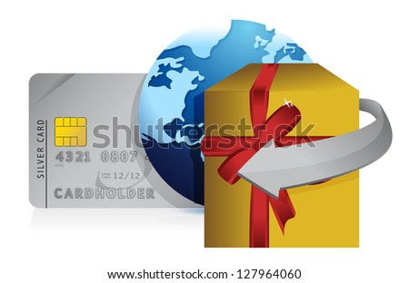 gift, globe and credit card retail concepts illustration design over white
