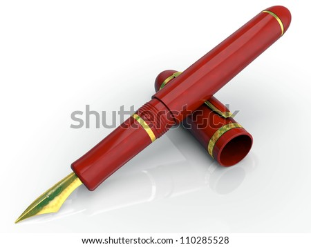 Gift gold pen, for a writing in the malachite case 3d