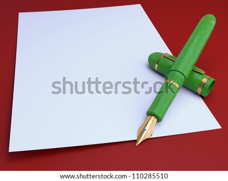 Gift gold pen, for a writing on a background of a leaf paper 3d