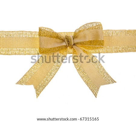 Gift golden ribbon and bow close up isolated on white background