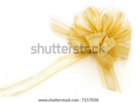 Gift golden ribbon and bow isolated on white