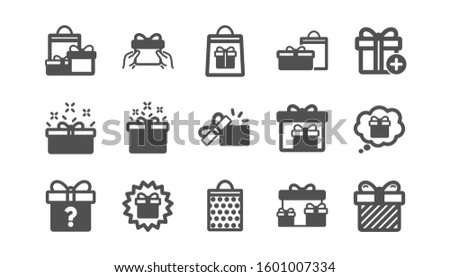 Gift icons. Present, Special offer and Sale. Shopping classic icon set. Quality set.