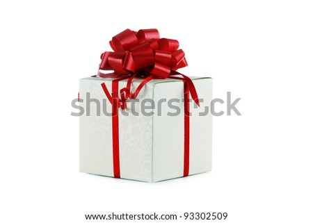 Gift in box with red bow closeup