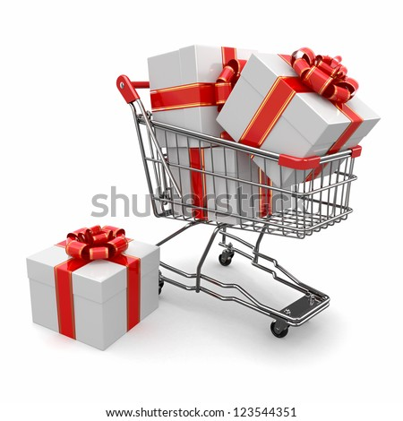 Gift in shopping cart on white background. 3d