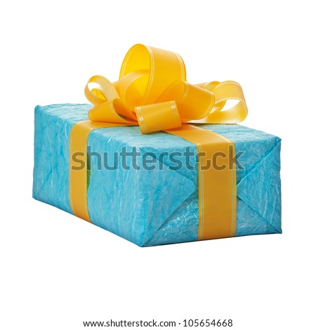 Gift in the blue box with yellow bow isolated on white background