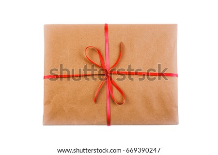 gift in wrapping paper tied...