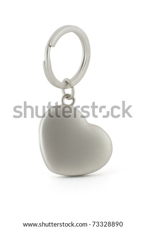Gift keychain in heart shape isolated on white background