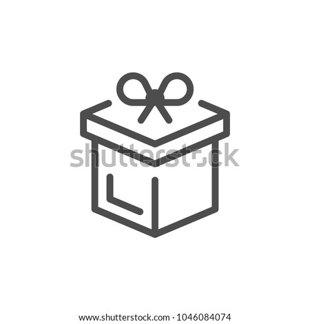 Gift line icon isolated on white