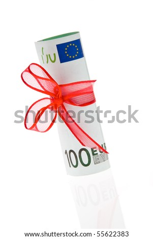 Gift of money. Euro bank note.