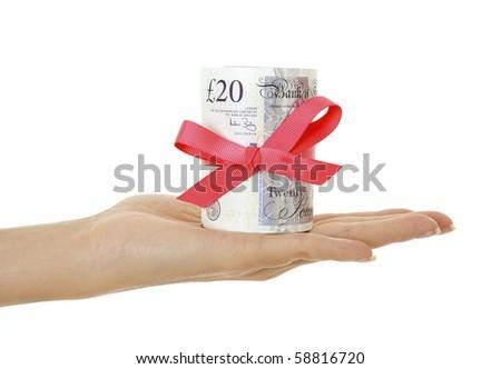 Gift of money isolated on white