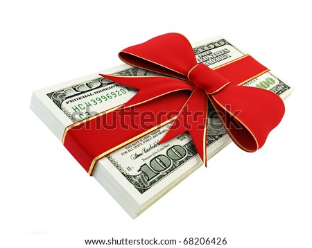 Gift of Money on a white background