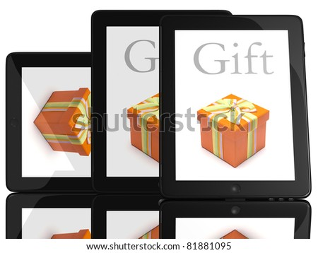 Gift on screen of teblet computer 3D model isolated on white