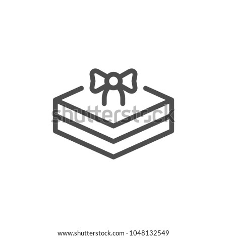 Gift package line icon isolated on white