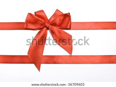 Gift packaging with red ribbons and bow