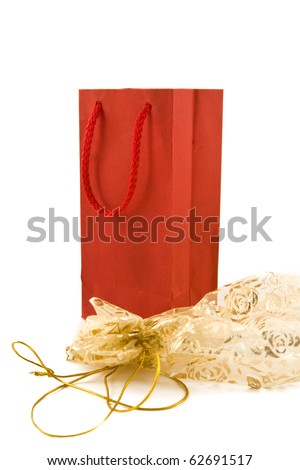 Gift packing isolated on white - stock photo