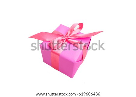 gift  paper box gift Christmas New year Valentine's Day anniversary on white background top view of a present pink present box to give to give the bow #619606436