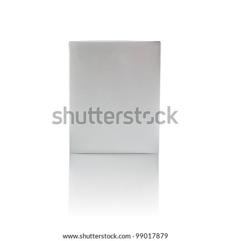 Gift paper box isolated on white background with reflection, silver color, package, recycle