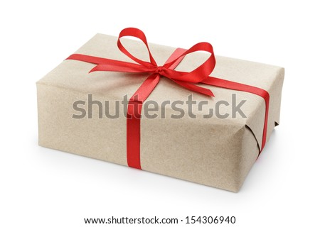 gift parcel box with ribbon bow, isolated on white