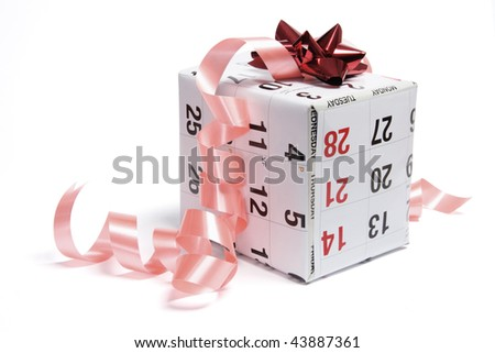 Gift Parcel Wrapped with Calendar Page