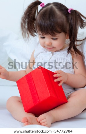Gift playing little cute toddler