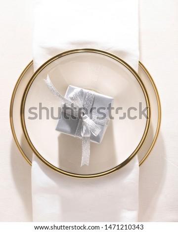 gift present white ribon plate