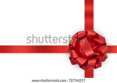 gift red bow with ribbons isolated on white background