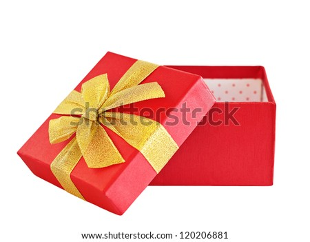 Gift red box  with a  ribbon bow Isolated on white