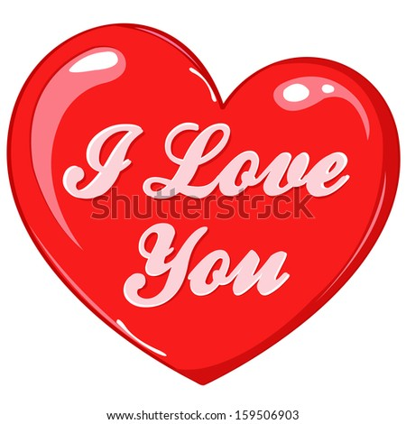 Gift red heart with text - I love you, can be used for greeting card, decoration, wedding invitation, Valentines day decor