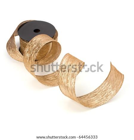 Gift ribbon bobbin isolated on white background