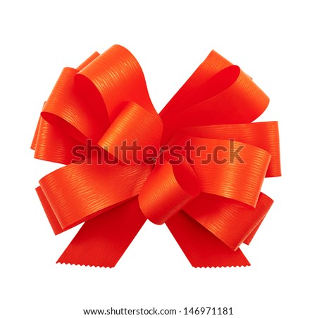 Gift ribbon glossy red bow isolated over white background