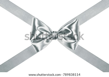 Gift ribbon glossy silver silk bow with crosswise ribbons isolated over white background, side view #789838114