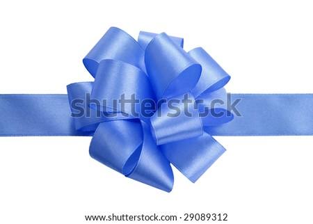 gift satin blue ribbon bow on white background